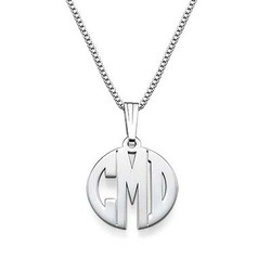 XS Block Monogram Necklace in Silver product photo