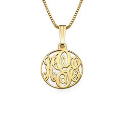 XS Circle Monogrammed Necklace in 18k Gold Plating product photo