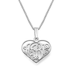 XS Heart Monogram Necklace in Silver product photo