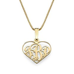 XS Heart Monogram Necklace in 18k Gold Plating product photo