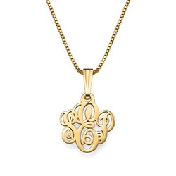 XS Gold Plated Monogram Necklace product photo