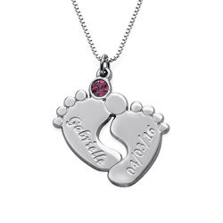 Personalized Baby Feet Necklace in Sterling Silver product photo