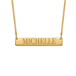 Engraved Bar Necklace in 18k Gold Plating product photo