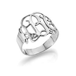 14K White Gold Monogram Ring product photo