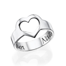 Engraved Heart Ring in Sterling Silver product photo