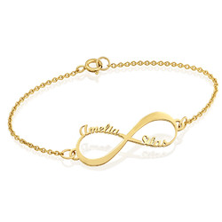 14K Gold Infinity Bracelet with Names product photo