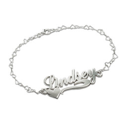 Side Heart Silver Name Bracelet / Anklet product photo