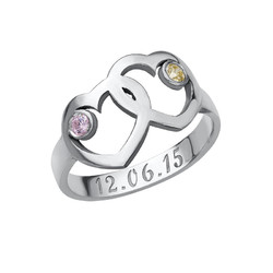 Heart Mother's Ring with Birthstones product photo