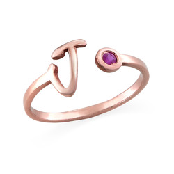 18K Rose Gold Plated Open Initial Birthstone Ring product photo