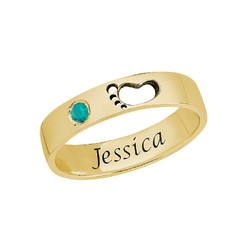 Baby Feet Ring with Inner Engraving in Gold Plating product photo
