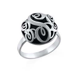 Contoured Monogram Ring in Silver product photo