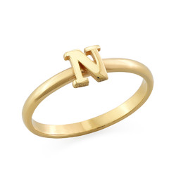 18K Gold Plated Initial Stacking Ring product photo