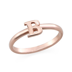 18K Rose Gold Plated Initial Stacking Ring product photo