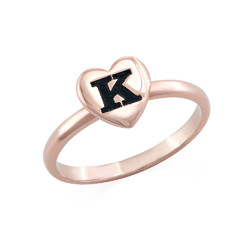 18K Rose Gold Plated Heart Initial Stacking Ring product photo