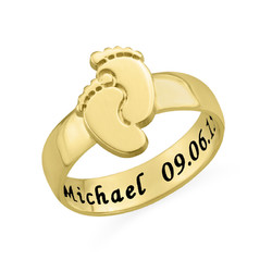 Engraved Baby Feet Ring with Gold Plating product photo