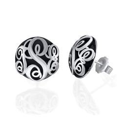 Contoured Monogram Studs Earrings in Silver product photo