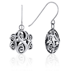 Contoured Monogram Dangle Earrings in Sterling Silver product photo