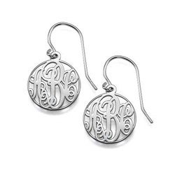 Circle Monogrammed Earrings in Silver product photo