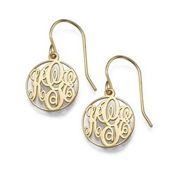 Circle Monogrammed Earrings in 18k Gold Plating product photo