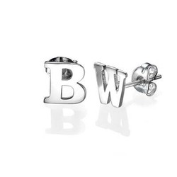 Initial Stud Earrings in Silver product photo