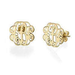 Monogram Stud Earrings in 14k Gold product photo