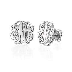 Monogram Stud Earrings in Silver product photo