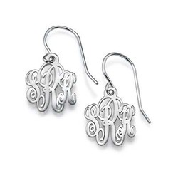 Monogrammed Earrings in Silver product photo