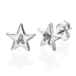 Sterling Silver Star Earrings with Initial product photo
