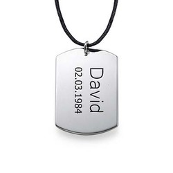 "Sterling Silver Men's ""Dog Tag"" Necklace product photo"