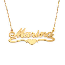 18k Gold Vermeil Middle Heart Name Necklace product photo