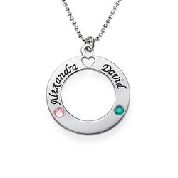 Sterling Silver Name Circle with Birthstones product photo