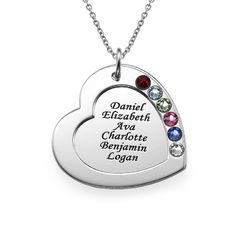 Family Heart Necklace with Birthstones product photo