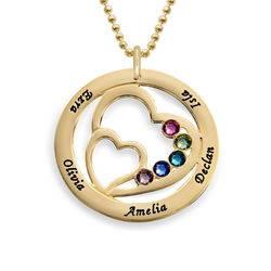 Heart in Heart Birthstone Necklace for Moms in 18k Gold Vermeil product photo