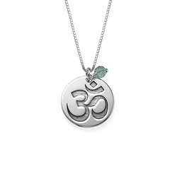 Om Necklace with Engraving and Birthstone product photo