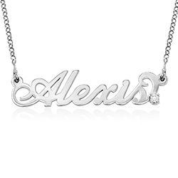 Small Sterling Silver Carrie Style Name Necklace with Diamond product photo