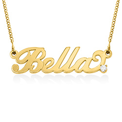 Small 18k Gold-Plated Silver Carrie Name Necklace with Diamond product photo