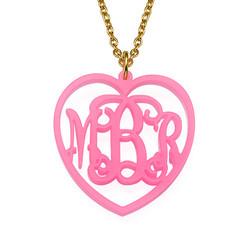 Monogrammed Heart - Acrylic Pendant Necklace product photo
