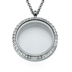 Silver Round Locket with Crystals product photo