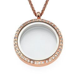 Round Locket in Rose Gold Plating with Crystals product photo