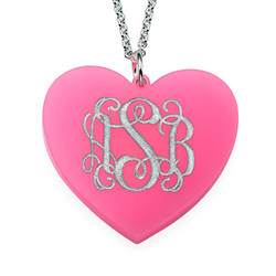 Acrylic Heart Necklace with Monogram product photo