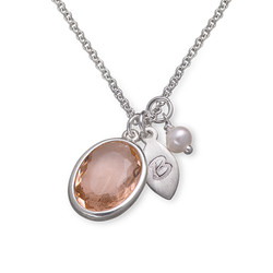 Glass Stone Pendant Necklace with Initial Leaf Charm product photo
