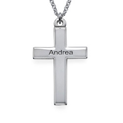 Personalized Silver Cross Necklace product photo
