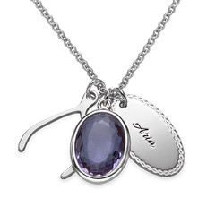 Crystal Glass Pendant with Wishbone & Disc Charms product photo