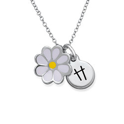 Enamel Flower Necklace for Kids with Initial Charm product photo
