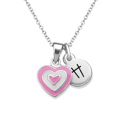 Pink Heart Necklace for Kids with Initial Charm product photo