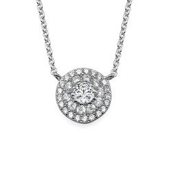 Round Disc Necklace with Cubic Zirconia product photo