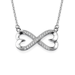Heart Infinity Necklace with Cubic Zirconia product photo