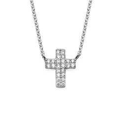 Small Cross Necklace with Cubic Zirconia product photo
