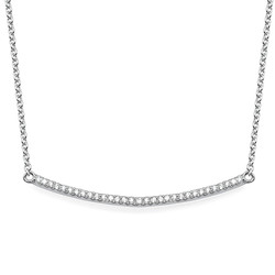 Curved Bar Necklace with Cubic Zirconia product photo