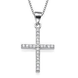 Cubic Zirconia Thin Cross Necklace product photo